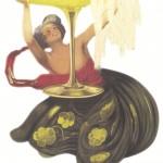 ▲コントラットのシンボル シャンパングラスをもって踊る女性。ベルエポックの時代に活躍したイタリア人でデザイナー、レオネット・カピエッロのデザイン